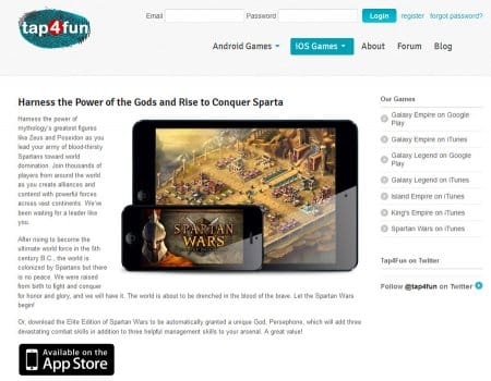 На официальнм сайте есть возможность скачать Spartan wars с Apple Store