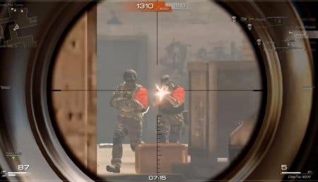 Вид через прицел в штурмовой винтовке