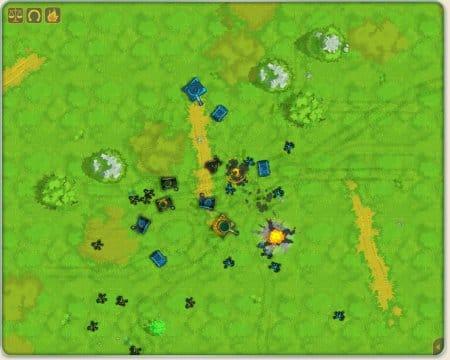 Разгар боевого сражения в игре «Банановые Войны»